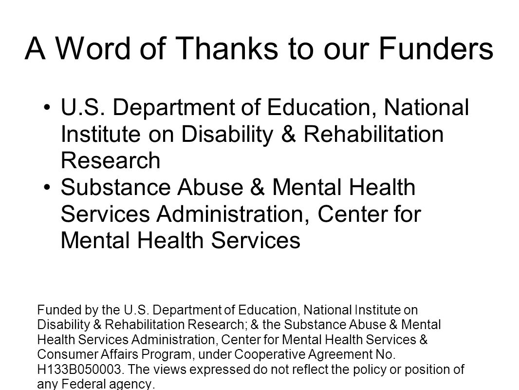 A Word of Thanks to our Funders
