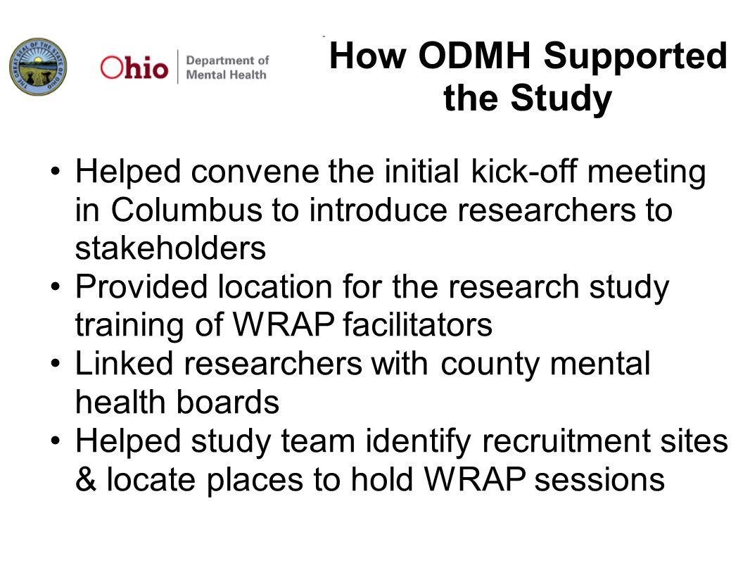How ODMH Supported the Study
