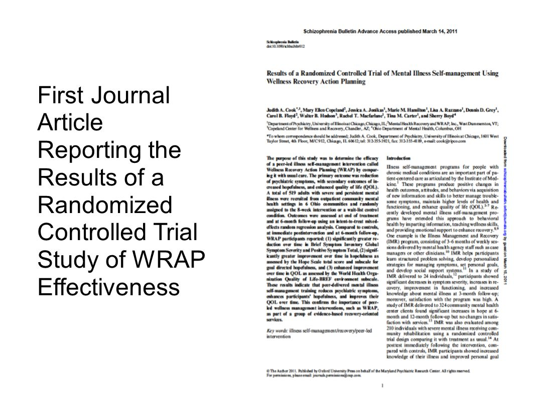 First Journal Article Reporting the Results of a Randomized Controlled Trial Study of WRAP Effectiveness.