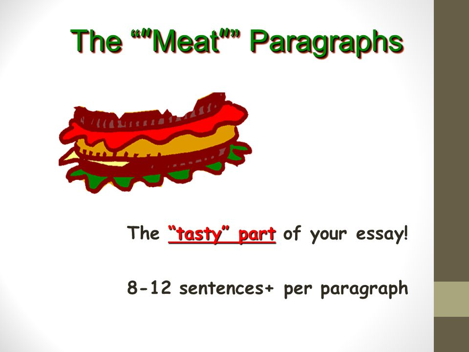 The tasty part of your essay! 8-12 sentences+ per paragraph