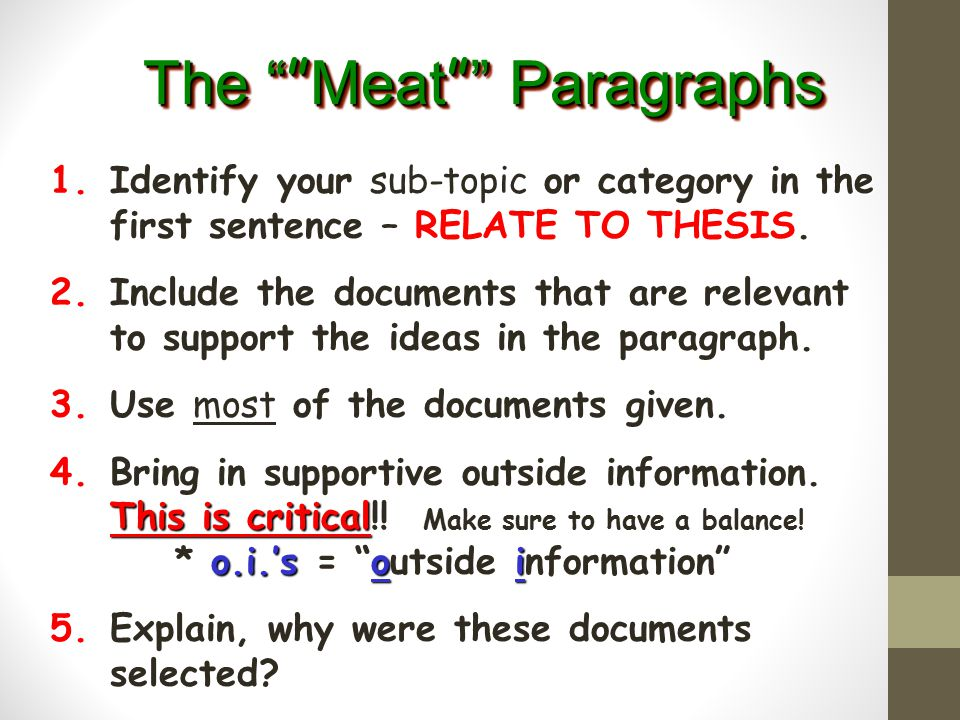 The Meat Paragraphs