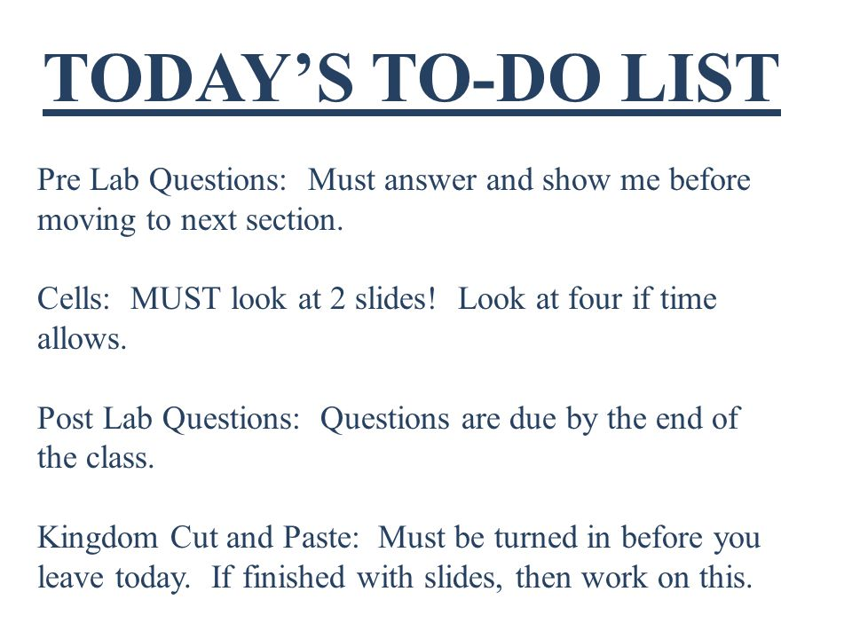 TODAY'S TO-DO LIST Pre Lab Questions: Must answer and show me before moving to next section.