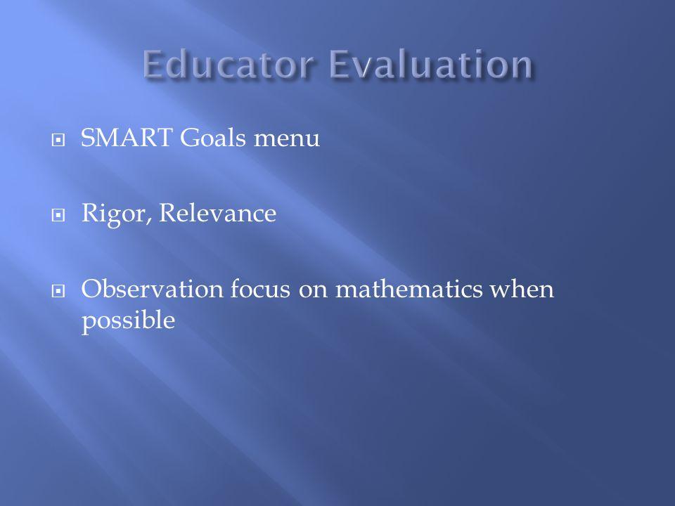 Educator Evaluation SMART Goals menu Rigor, Relevance