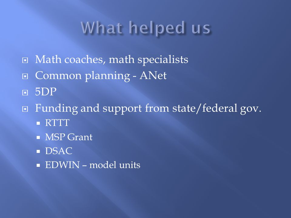 What helped us Math coaches, math specialists Common planning - ANet