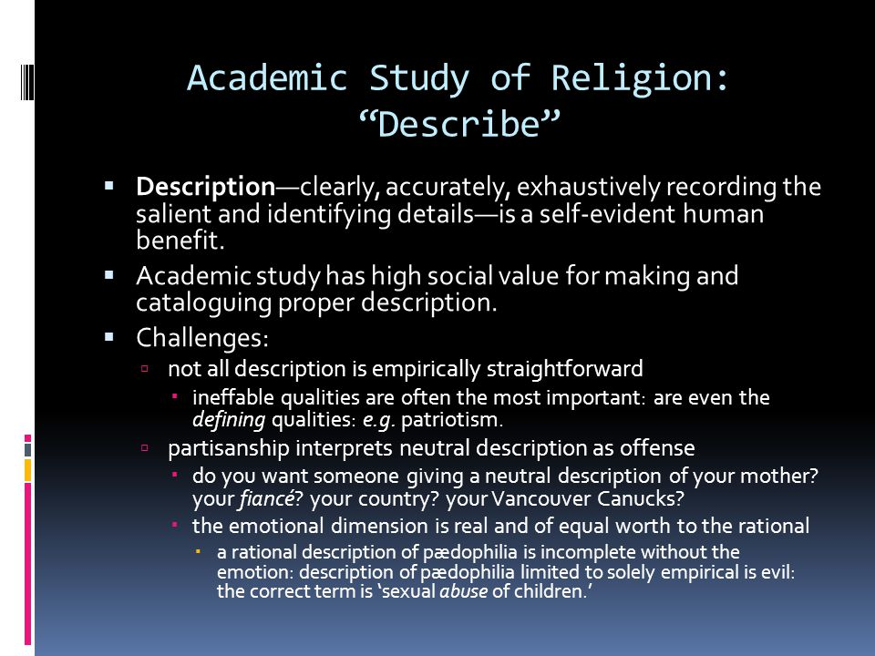Academic Study of Religion: Describe