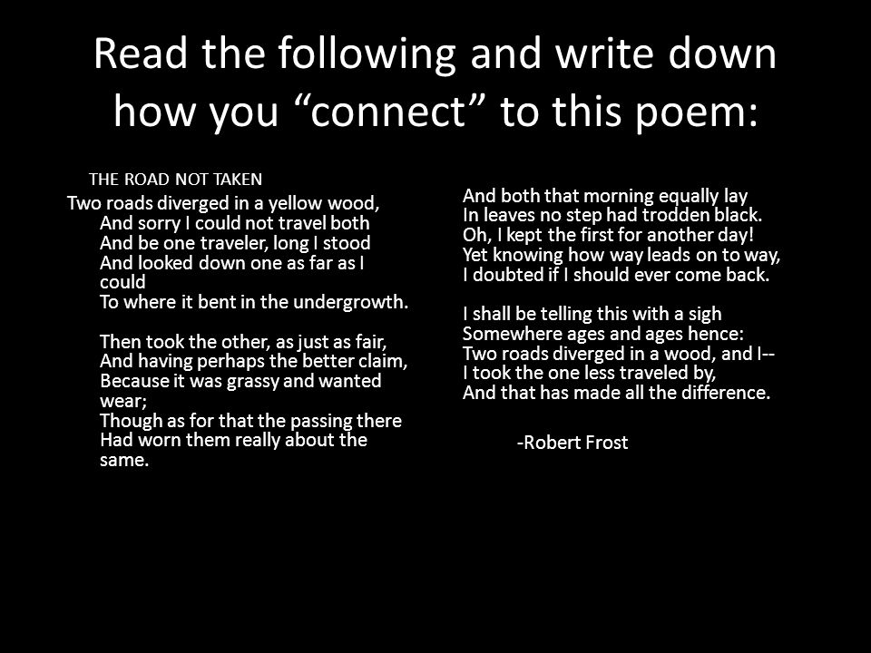 Read the following and write down how you connect to this poem: