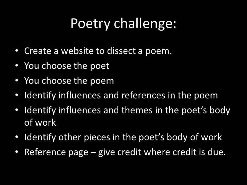 Poetry challenge: Create a website to dissect a poem.