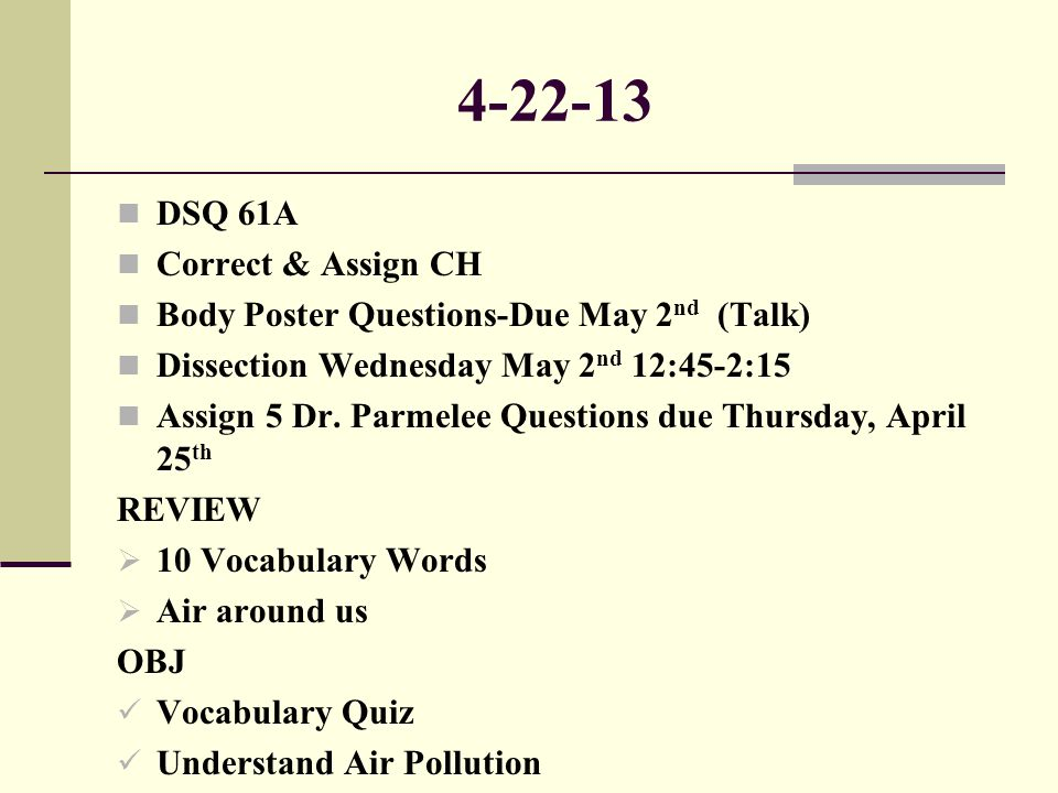 4-22-13 DSQ 61A Correct & Assign CH