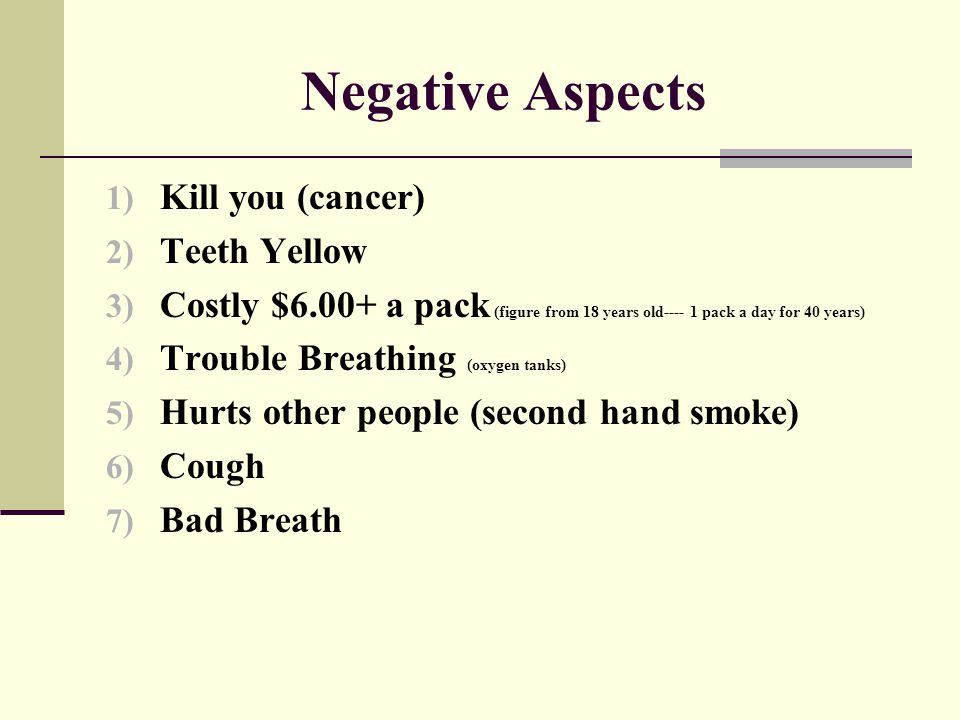 Negative Aspects Kill you (cancer) Teeth Yellow