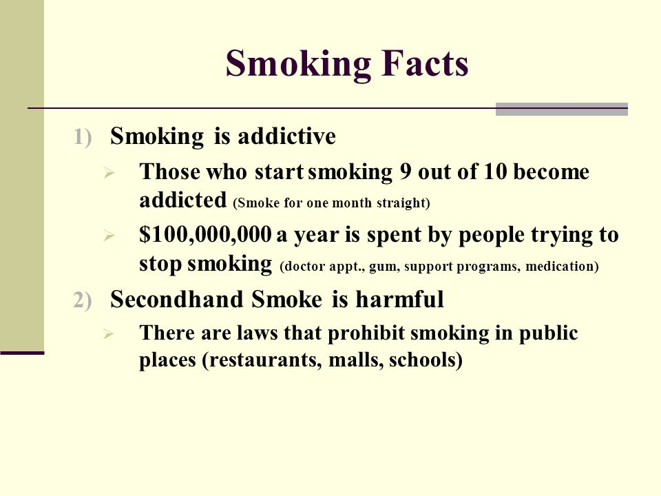 Smoking Facts Smoking is addictive Secondhand Smoke is harmful