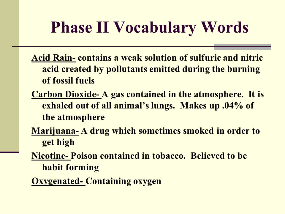 Phase II Vocabulary Words