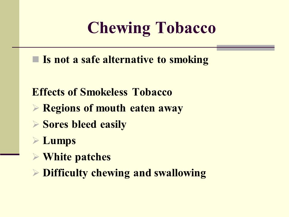 Chewing Tobacco Is not a safe alternative to smoking