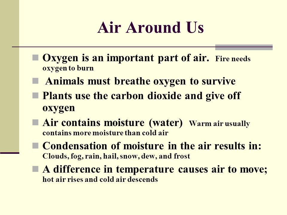 Air Around Us Oxygen is an important part of air. Fire needs oxygen to burn. Animals must breathe oxygen to survive.