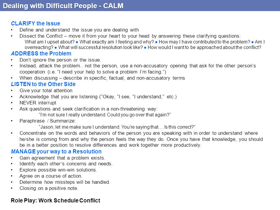 Dealing with Difficult People - CALM