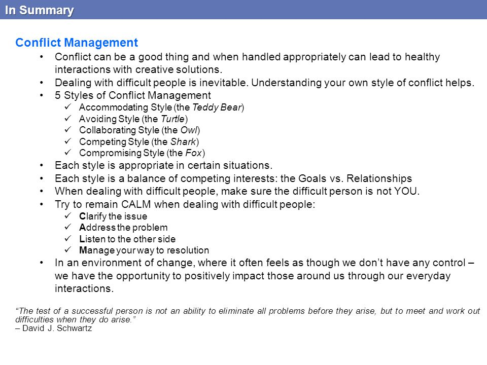 In Summary Conflict Management