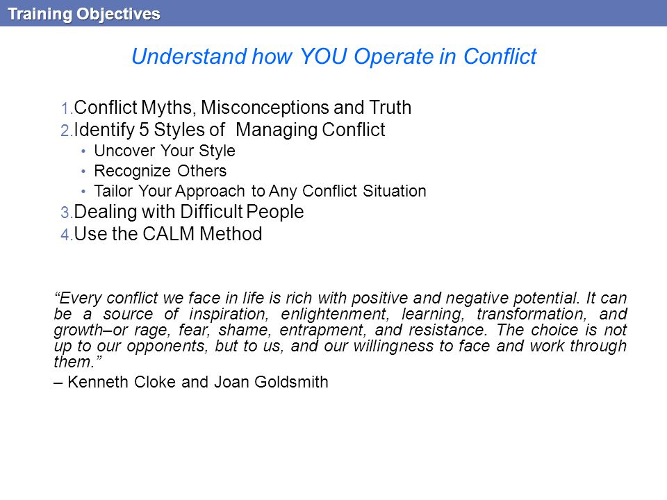 Understand how YOU Operate in Conflict