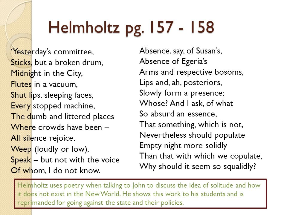 Helmholtz pg. 157 - 158 Absence, say, of Susan's,
