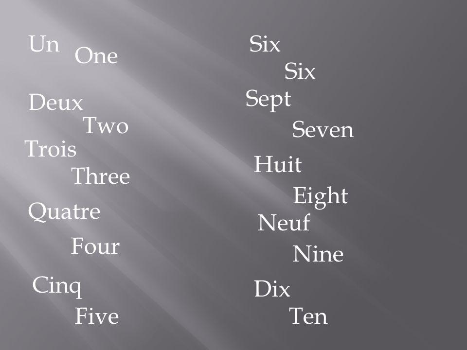 Un Six One Six Sept Deux Two Seven Trois Huit Three Eight Quatre Neuf Four Nine Cinq Dix Five Ten