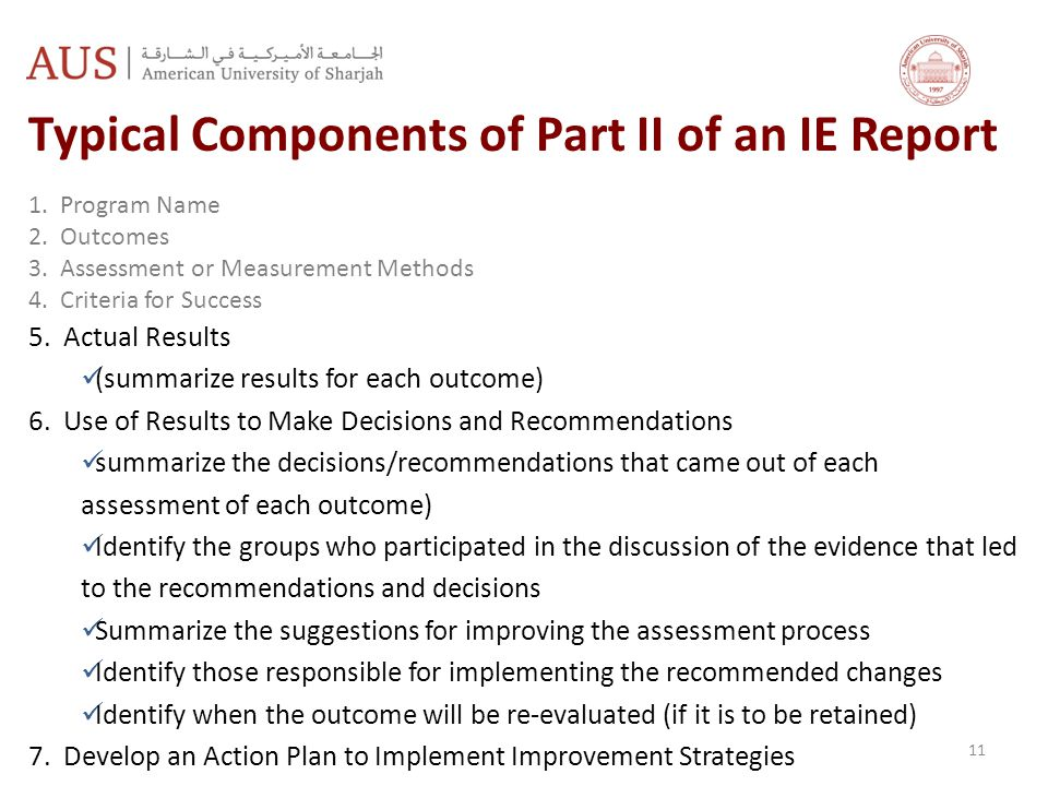Typical Components of Part II of an IE Report