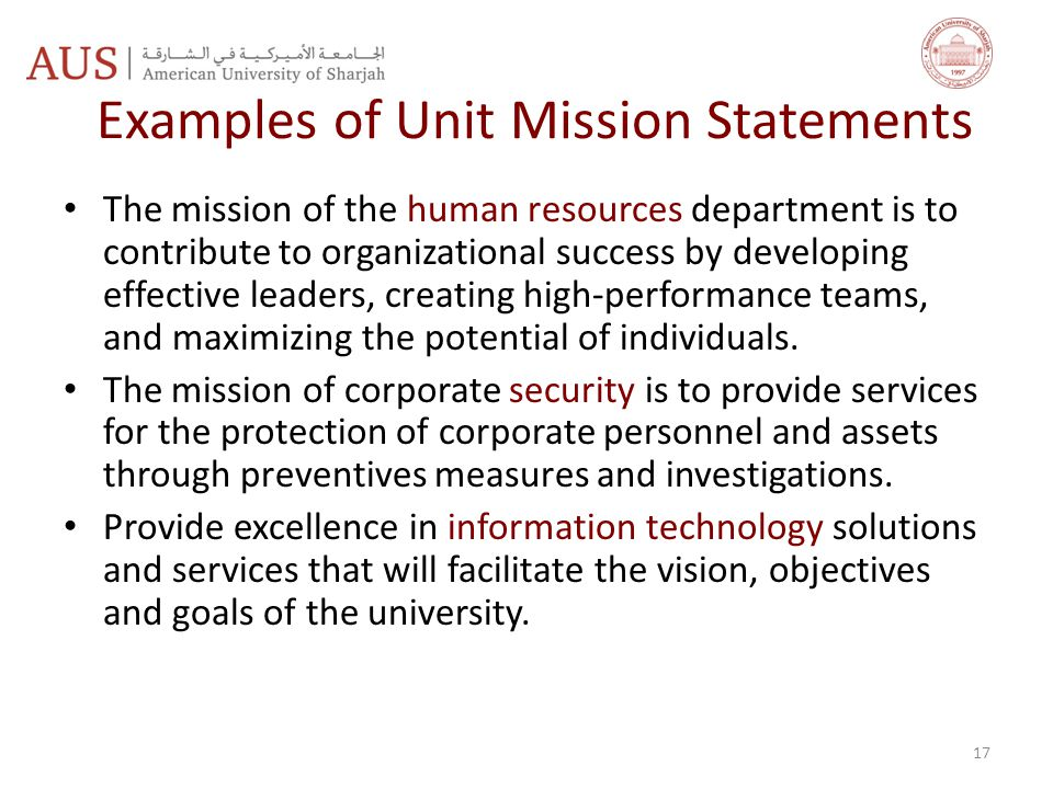 Examples of Unit Mission Statements