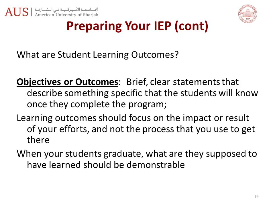 Preparing Your IEP (cont)