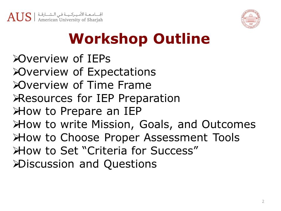 Workshop Outline Overview of IEPs Overview of Expectations