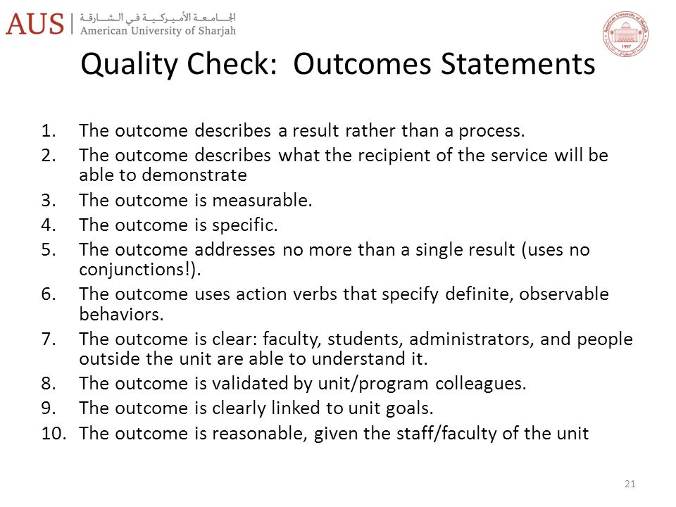 Quality Check: Outcomes Statements