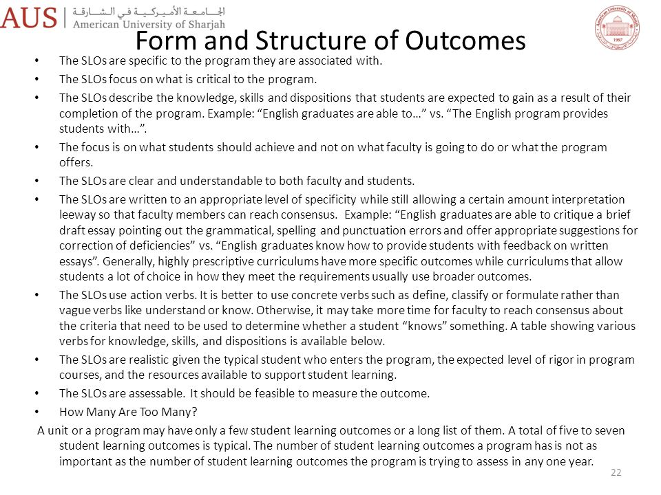 Form and Structure of Outcomes