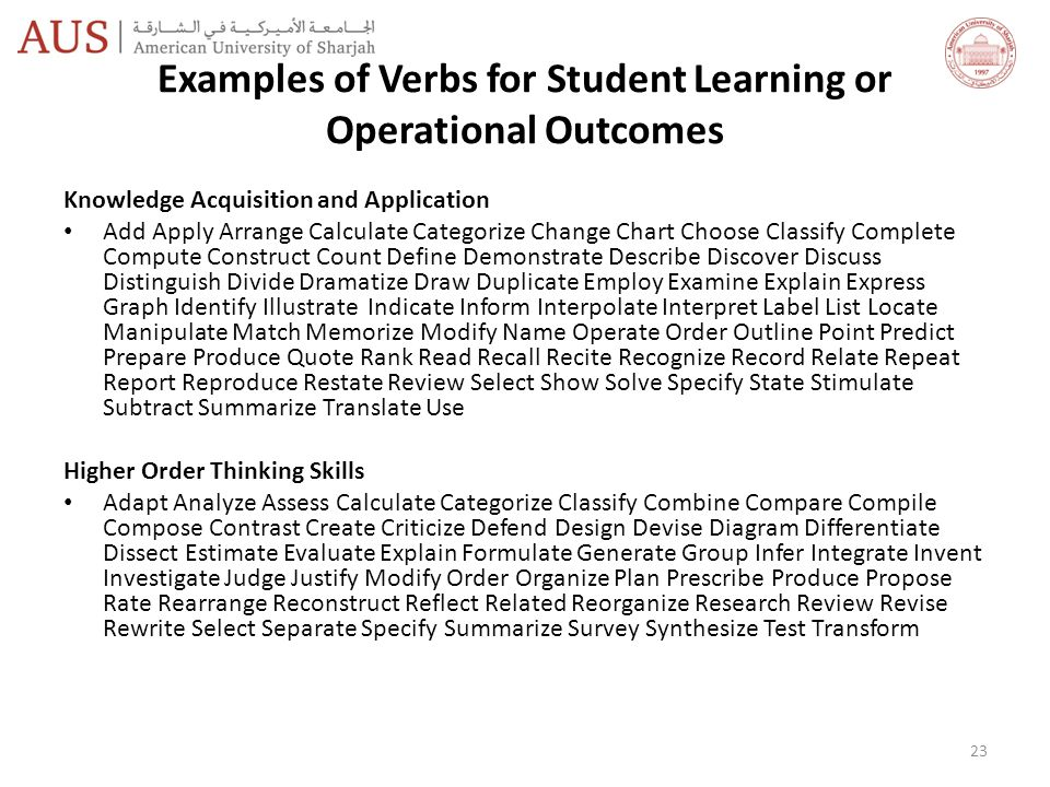 Examples of Verbs for Student Learning or Operational Outcomes