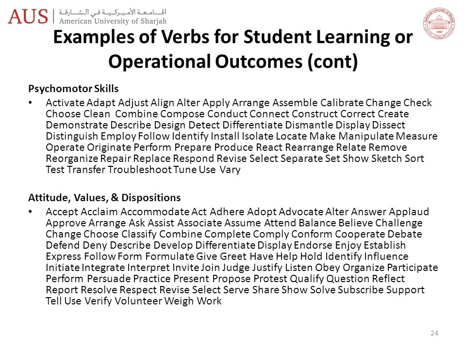 Examples of Verbs for Student Learning or Operational Outcomes (cont)