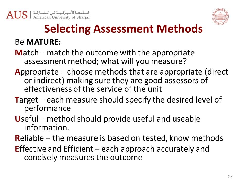 Selecting Assessment Methods