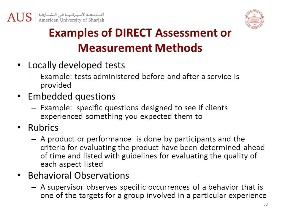 Examples of DIRECT Assessment or Measurement Methods