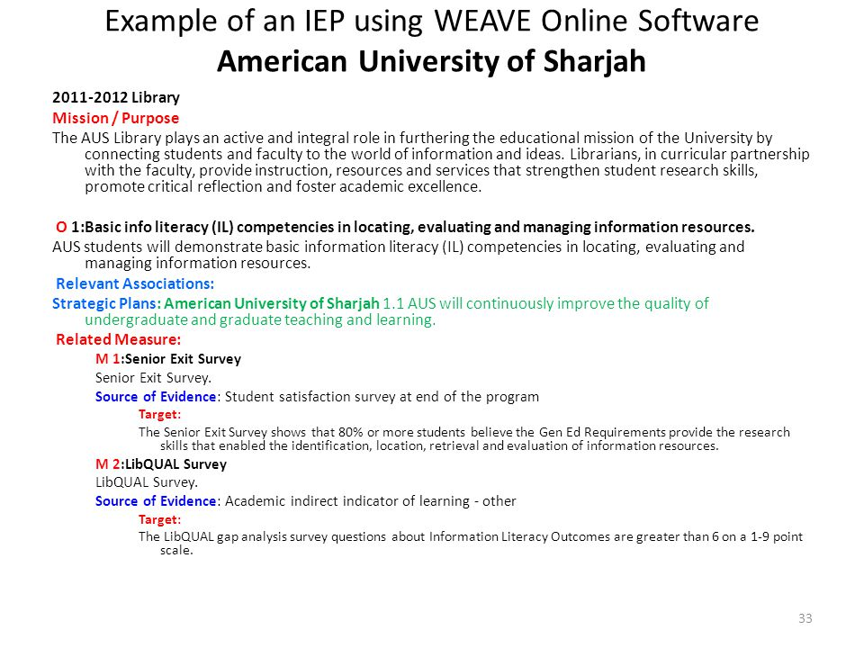 Example of an IEP using WEAVE Online Software American University of Sharjah