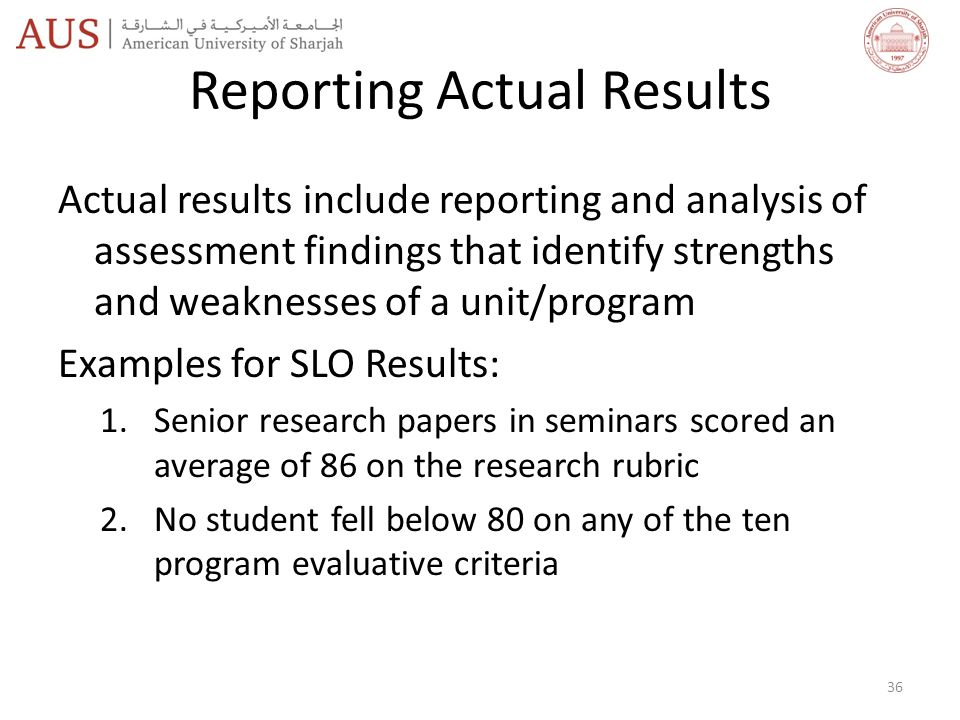 Reporting Actual Results