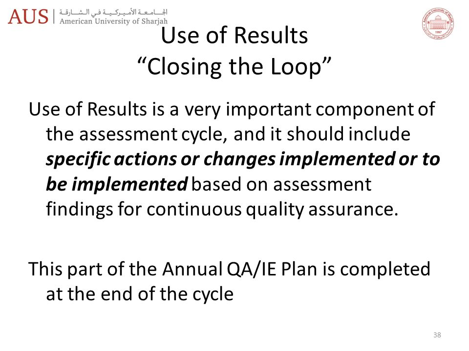 Use of Results Closing the Loop