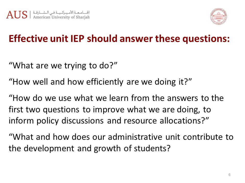 Effective unit IEP should answer these questions: