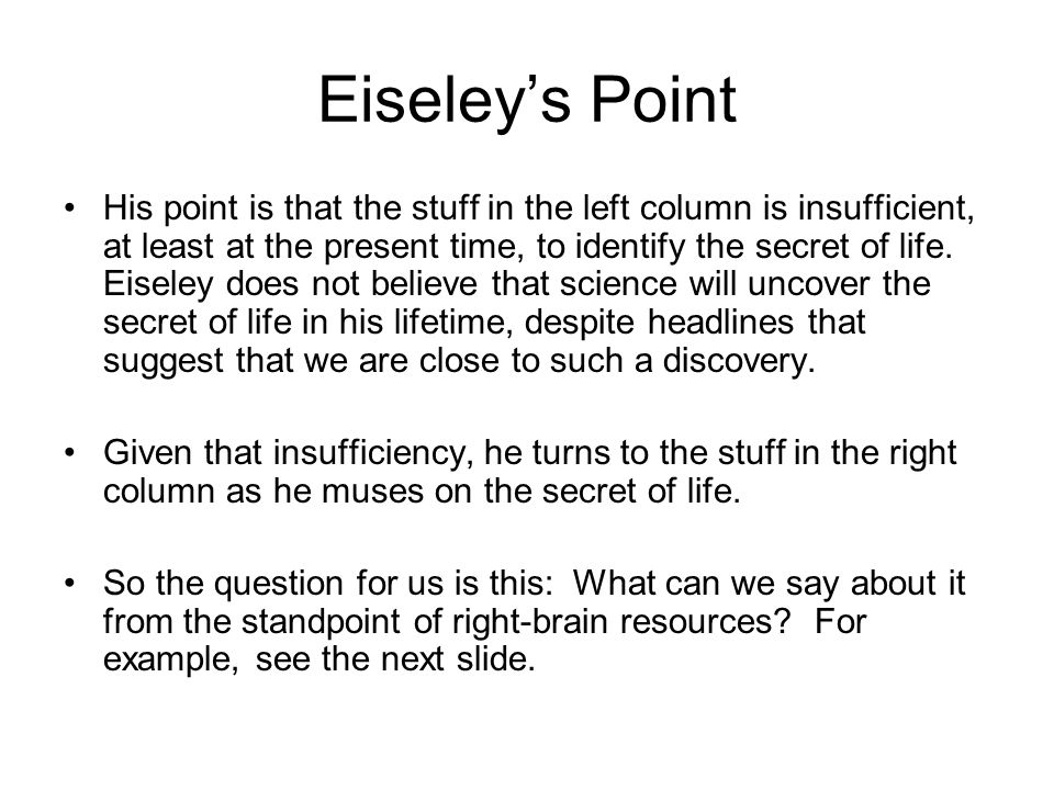 Eiseley's Point