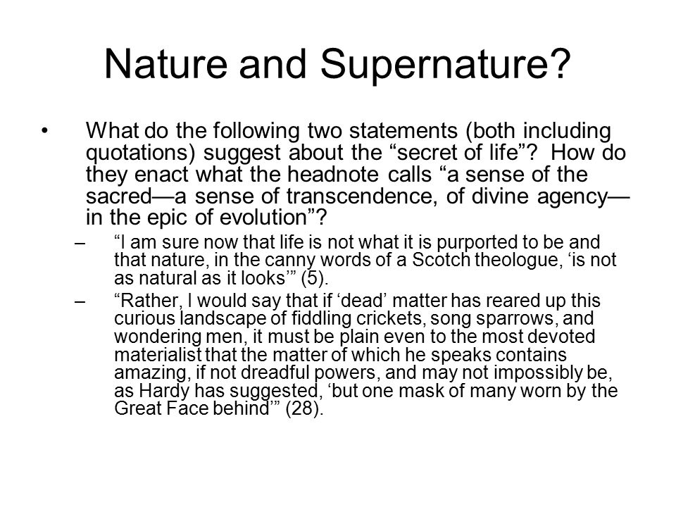 Nature and Supernature