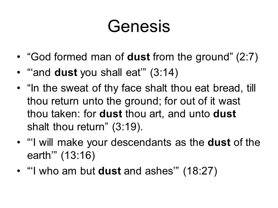 Genesis God formed man of dust from the ground (2:7)