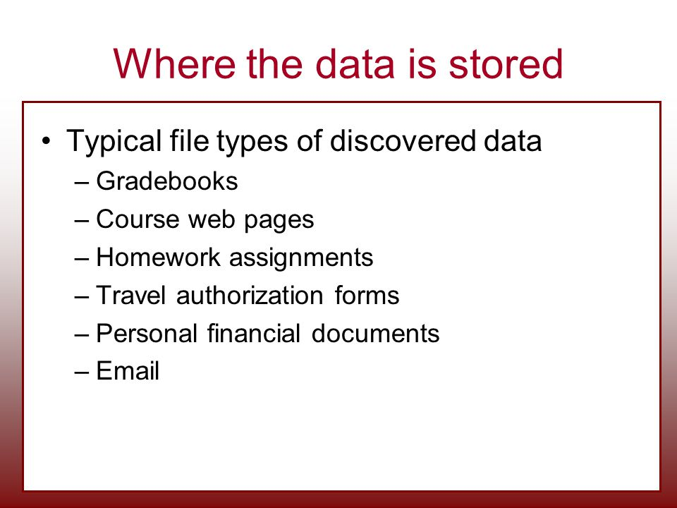 Where the data is stored