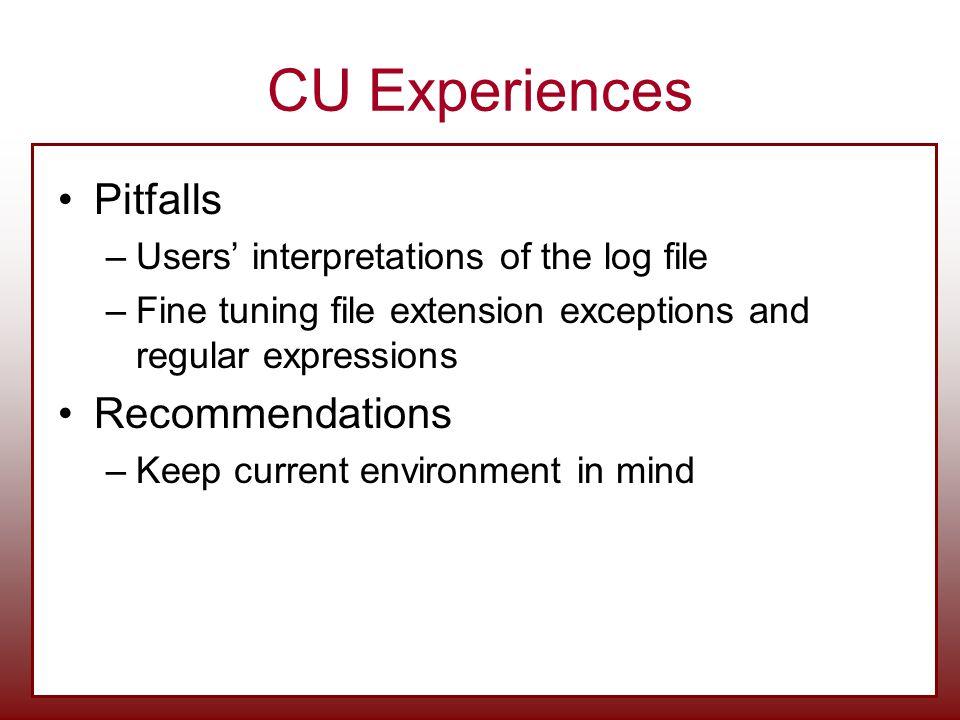 CU Experiences Pitfalls Recommendations