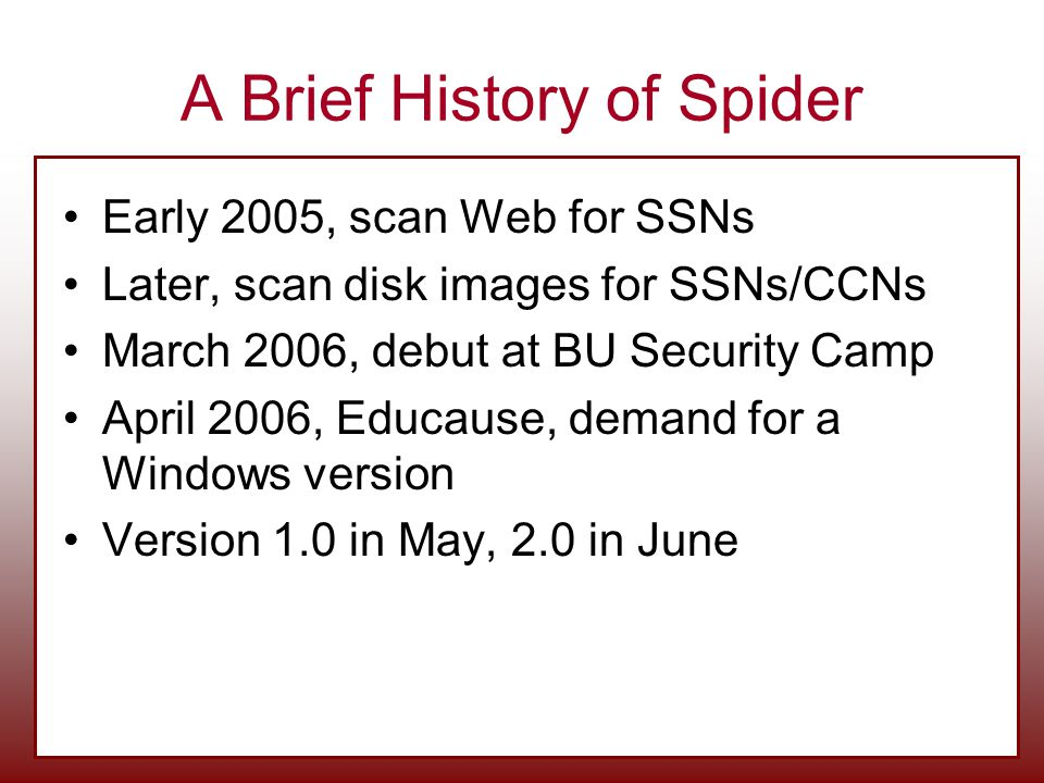 A Brief History of Spider