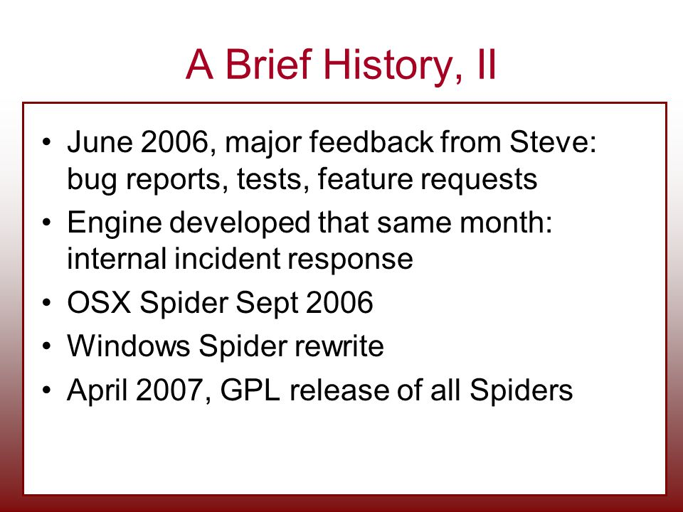 A Brief History, II June 2006, major feedback from Steve: bug reports, tests, feature requests.