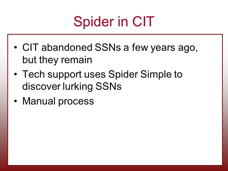 Spider in CIT CIT abandoned SSNs a few years ago, but they remain