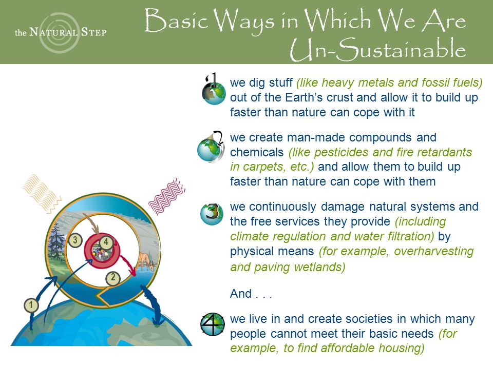 Basic Ways in Which We Are Un-Sustainable