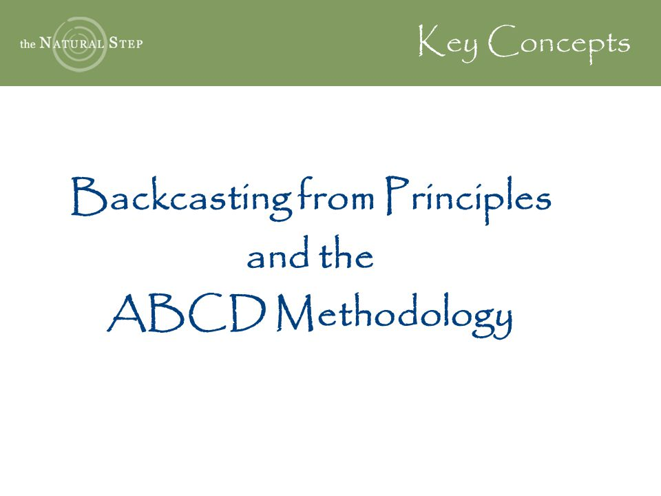 Backcasting from Principles