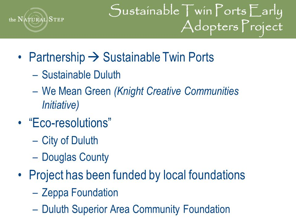 Sustainable Twin Ports Early Adopters Project