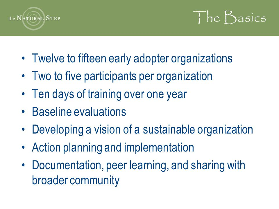 The Basics Twelve to fifteen early adopter organizations