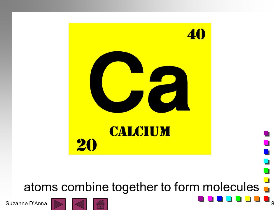 atoms combine together to form molecules