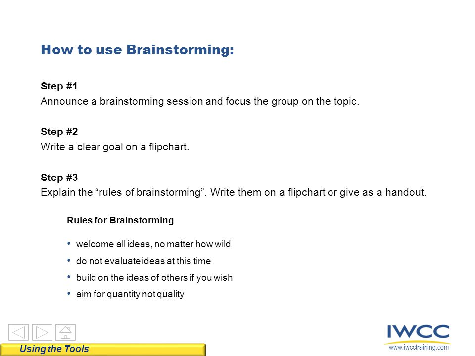 How to use Brainstorming: